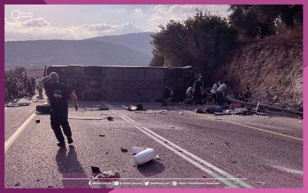 مصرع وإصابة عشرات المستوطنين بانقلاب حافلة في الجليل